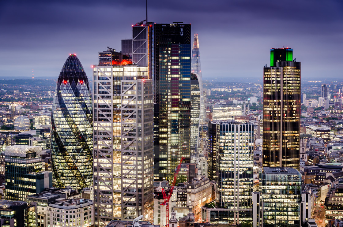 view of london skyscrapers
