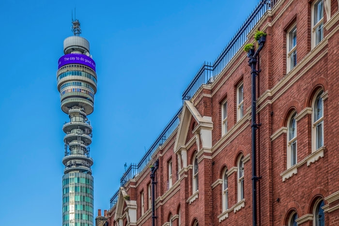 Victorian architecture at old buildings and BT Tower in London