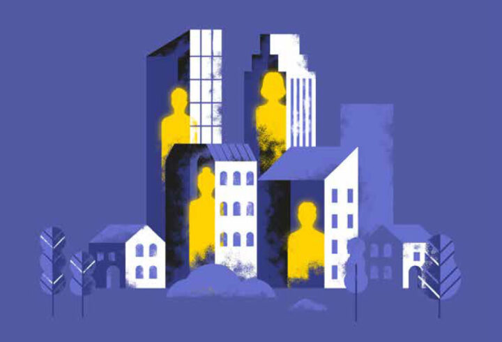 the human organisation graphic of buildings with people in yellow
